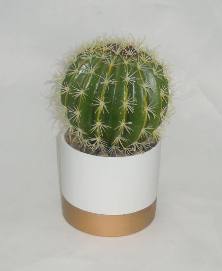 Faux Cactus In Ceramic Planter With, Outdoor Artificial Cactus Plants