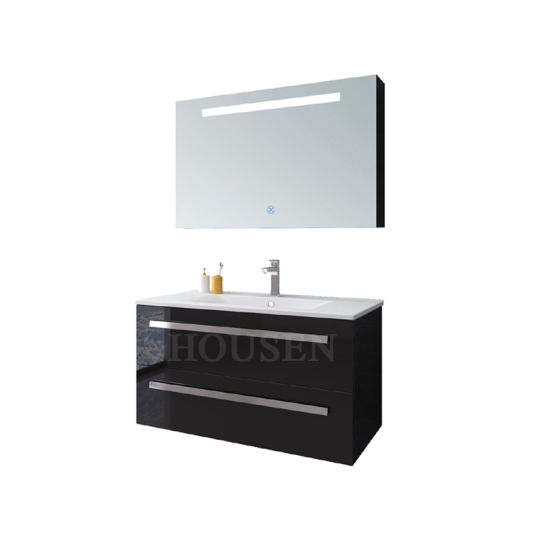 Wholesale New Design Modern Solid Wood Bathroom Vanity Cabinets Black Paint Bathroom Cabinet HS-E1916