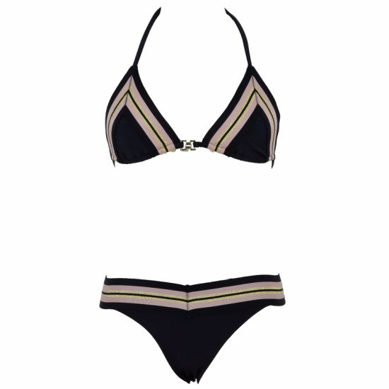 Ladies Gold Elastic Trims Front Two Piece Swimwear pictures & photos