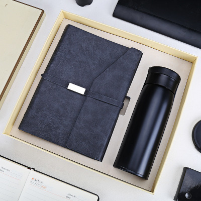 Promotional PU Leather Notebook Water Bottle Gift Set