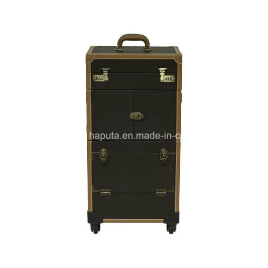 China Hair Stylist Case With Led Lights Professional Rolling Makeup Storage 4 Wheels Spinner Trays Numlock And Key Locks Brown Faux Leather Hb 120216 China Makeup Organizer Box And Led Beauty Case Price