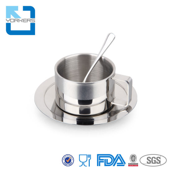 Stainless Steel 304 Coffee Cup Tea Coffee Mug Set with Spoon with Saucer