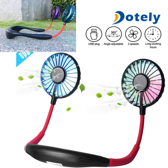 Mini Sport USB Rechargeable Dual Cooling Portable Neck Fan