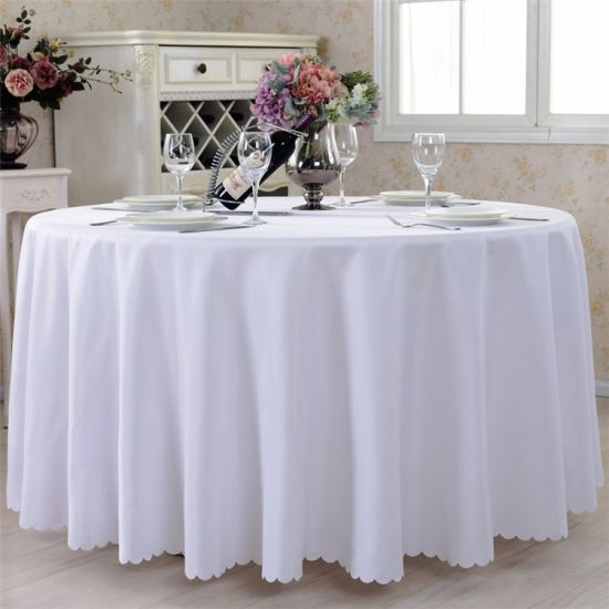 China Hotel Restaurant Table Linens, Round White Tablecloths For Wedding