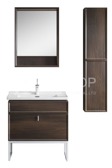 in Stock UK Cabinets Customized Luxury Sweden Walnut Black Floor Mounted One Sink Modern Bathroom Cabinet