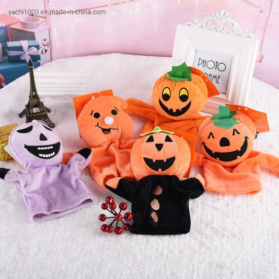 Kid Educational Toy Plush Stuffed Pumpkin Doll Halloween Hand Puppet Toy
