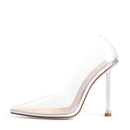Fashion Ladies Sandal Women's Clear Pumps Pointed Toe Slip on Stiletto Heel Dress Shoes