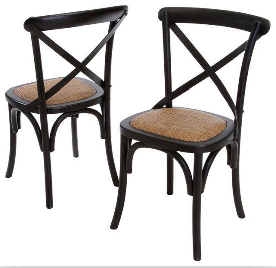 China Cheap Durable Black Wood Cross Back X Chair
