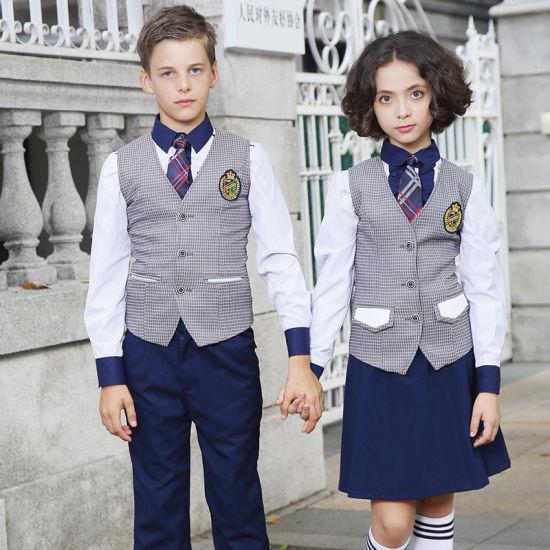 Custom High Quality Unisex School Uniform Design Blazer Waistcoat Vest