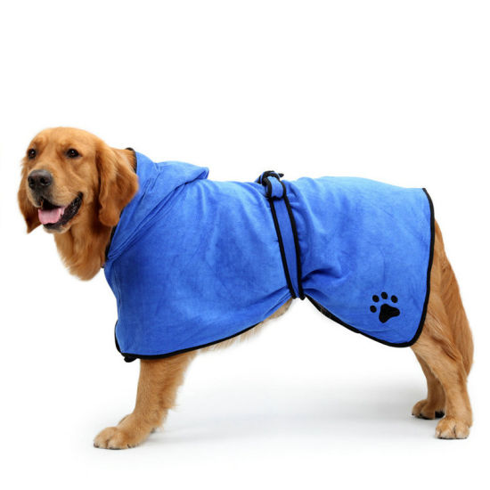Microfiber Dog Drying Towel Robe with Hood/Belt, Dog Bathrobe Soft Super Absorbent for Large, Medium, Small Dogs Esg12480 pictures & photos