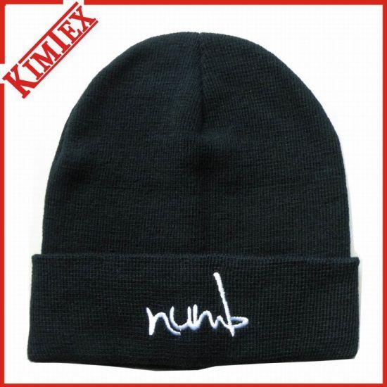 4ed9f74083b2b China Black Knitting Custom Cuffed Embroidery Beanie Hat - China ...