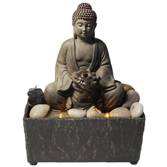 Custom Made Mini Indoor Home Table Decor Art Polyresin Resin Buddha Water Fountain with Stones