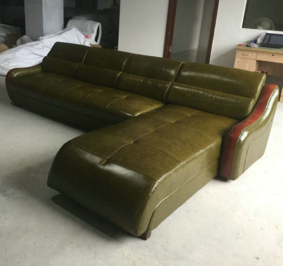 China Green Color Modern L Shape Leather Sofa Home Furniture (C22 ...