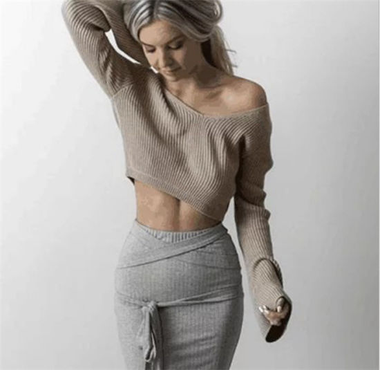 Ladies Fashion Stylist Sexy Short V Neck Pullover Sweater for Spring/Autumn