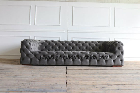 Grey Color Button Tufting Velvet Fabric Chesterfield Sofa