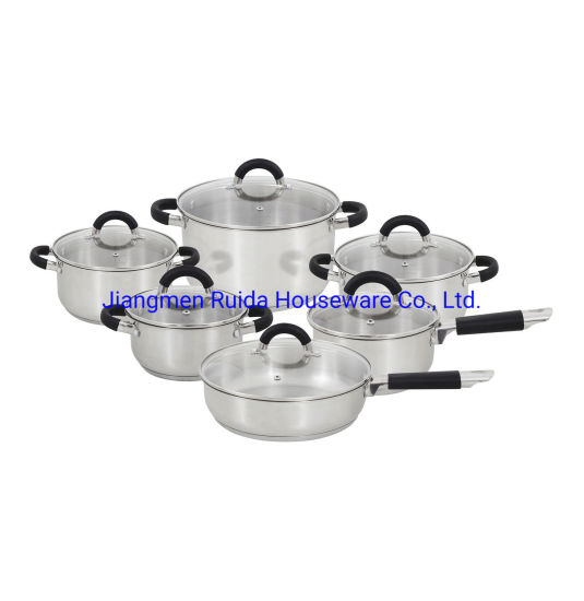 12PCS Stainless Steel Cookware Set with Black Silicone Handle in Glass Lid