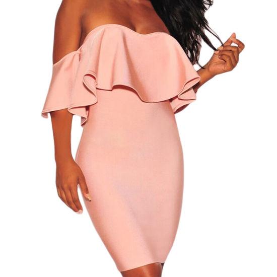 Hot Sale Sexy Blush Pink Ruffle off Shoulder Bandage Dress