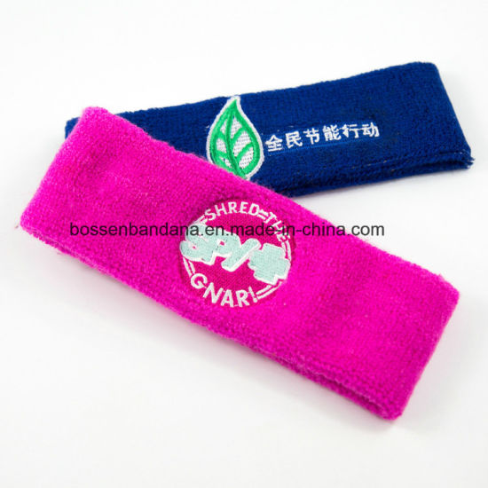 Factory OEM Produce Custom Logo Embroidery Red Terry Running Gym Sweat  Headbands d79192d5f9a