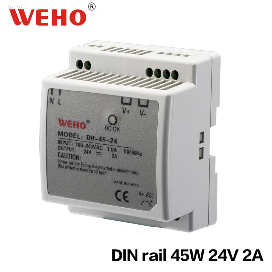 China Dr-45-24 Constant Voltage DIN Rail 220V AC to 24V DC Switching ...