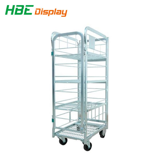 Warehouse Wire Mesh Container Roll Cage Trolley pictures & photos