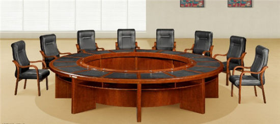 China Big Size Customized Round Wooden Conference Table For Business - Round wood conference table
