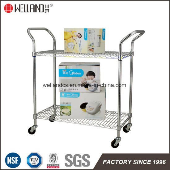 Adjustable 2 Tier Stainless Steel Wire Utility Cart, NSF Approval pictures & photos