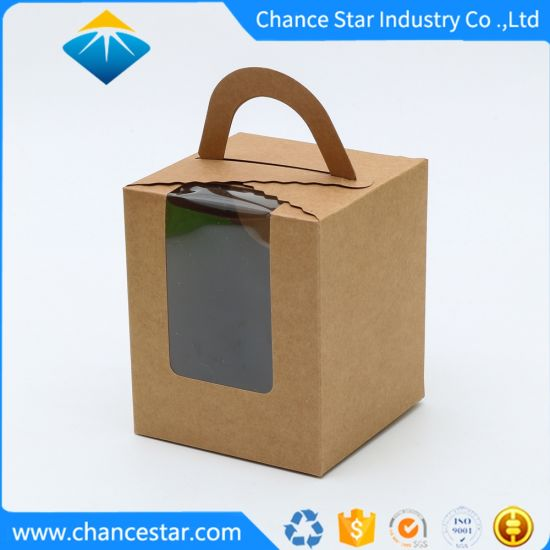 Custom Gift Package Kraft Paper Handle Box with Clear Window