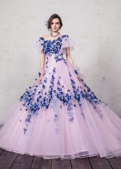 [Hot Item] Hand Made Flower Blue and Pink Prom Party Evening Ball Gown  Quinceaner Wedding Dress
