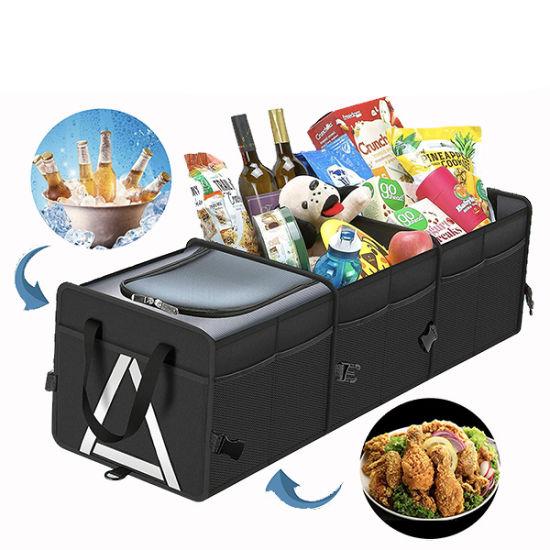 Hot-Selling Travel Backseat Car Organizer, Cooler Bag Compartment Waterproof Trunk Storage Organizer Durable Car Trunk Organizer