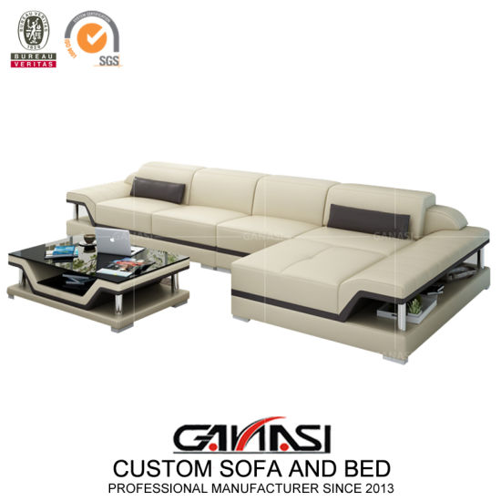 Ultra Modern Small Size White Leather Corner Sectional Sofa