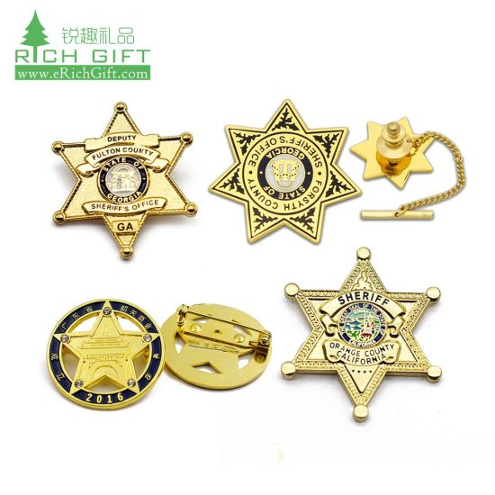 Badge Maker Cheap Custom Metal Italian UK Pakistan Lapel Pin Indian British  Army Cap Badge Police Personalized Sheriff Security Guard Military Badge