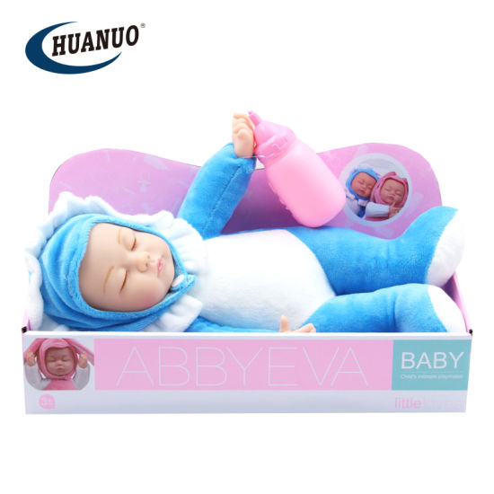 33.5cm New Blue Cotton Reborn Toy Sleeping Baby Doll