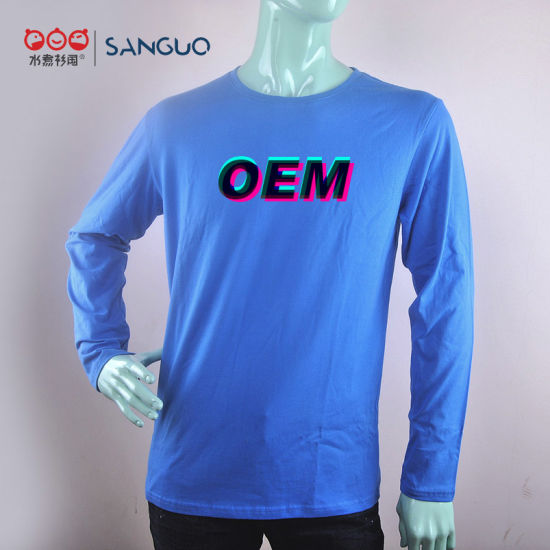 Wholesale High Quality 100% Combed Cotton Long Sleeves T Shirt