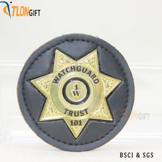 Round Leather with Metal Creative Design High Quality Customization Body Badge