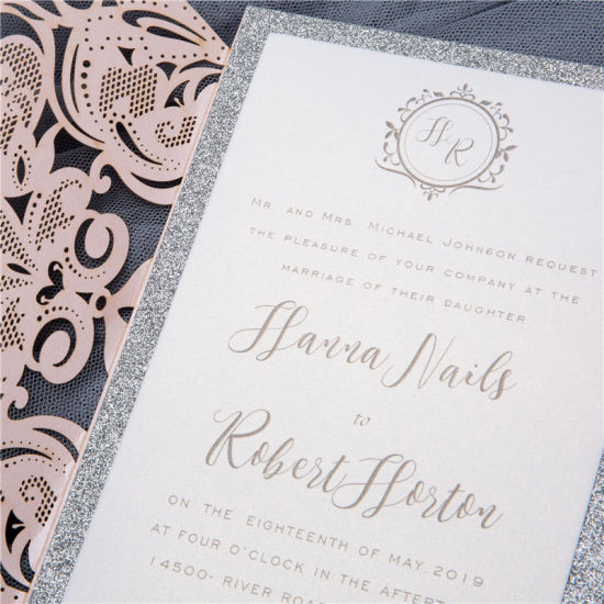 Custom Laser Cut Greeting Cards Printing Wedding Invitation Card with  Envelope
