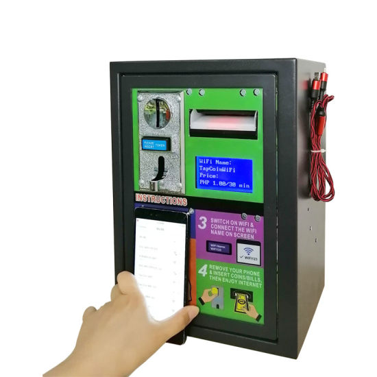 2020 Cheap Outdoor Vandal-Proof Steel Plate 2-in-1 Coin Banknote Payment Kiosk WiFi Hotspot