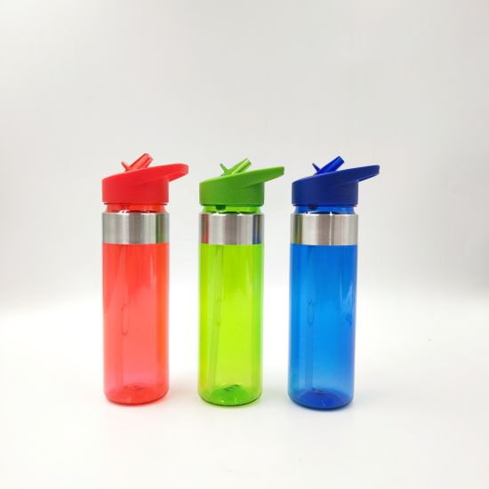 BPA Free 600ml Tritan Plastic Water Bottle with Stainless Steel Ring