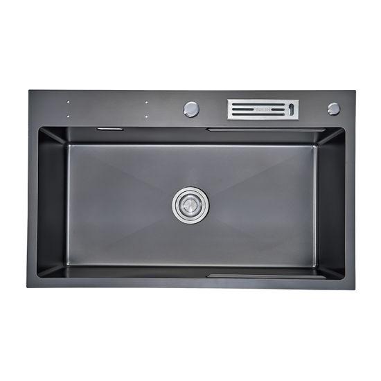 Manufacturer Direct Supplier Single Bowl Nanometer Antibacterial Black 304/201stainless Steel Nano Technology Black Kitchen Sink