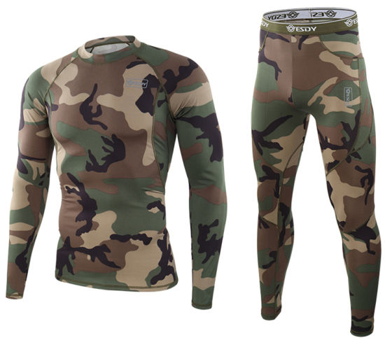 Camo Esdy Tactical Outdoor Sports Warm Thermal Underwear Set pictures & photos