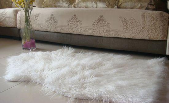 Custom Made Long Hair Synthetic Pure White Sheepskin Fleece Rug Carpet Esdt25