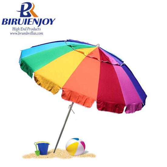 Giant 8 FT Beach Umbrella with Sand Anchor & Carrying Bag Rainbow