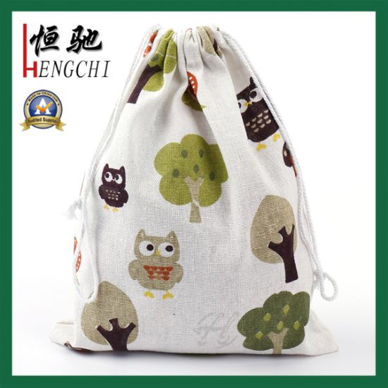 Custom Printed Cotton Lunch Bag with Drawstring Closure pictures & photos