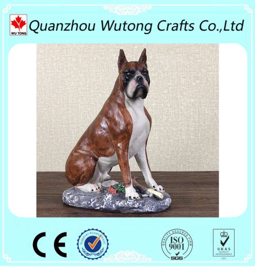 China Resin Lovely Boxer Dog Figurines Home Decoration Garden Animal