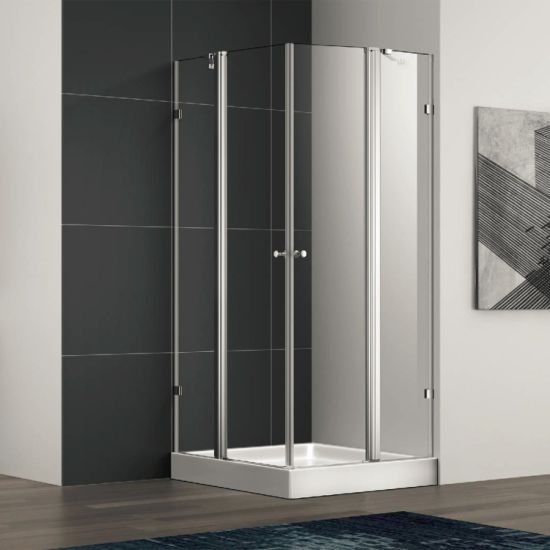 Square Pivot Shower Enclosure Cabin with Stainless Steel Glass Clamp