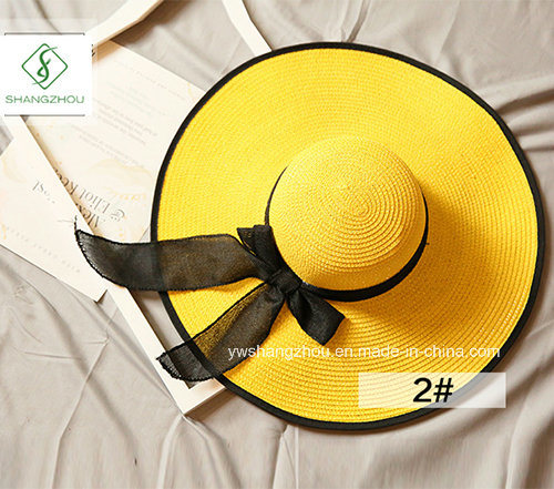 2017 New Design fashion Folded Straw Hats with Ribbon for Summer