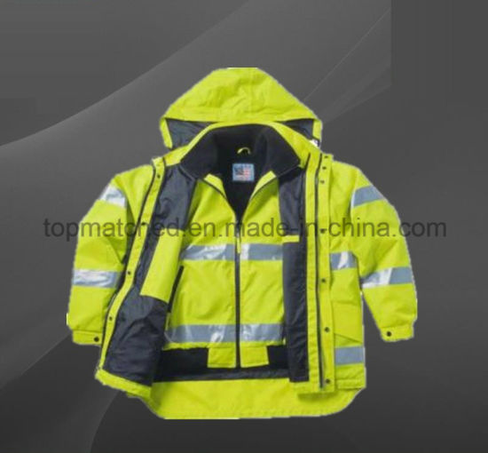 100% Cotton Lining Warm Plain Safety 4 in 1 High Visibility Bomber Jacket