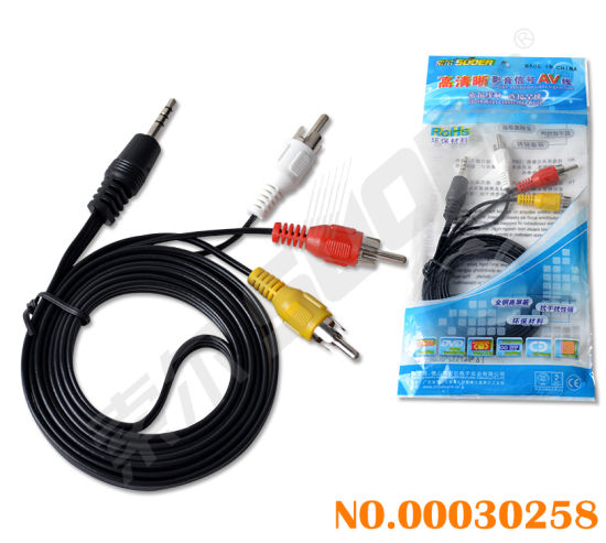 Factory Price 1.5m Audio Video Cable 3.5mm 3 Lines to 3 RCA Male to Male AV Cable (AV-33A-1.5M-white-stright-blue Packing) pictures & photos