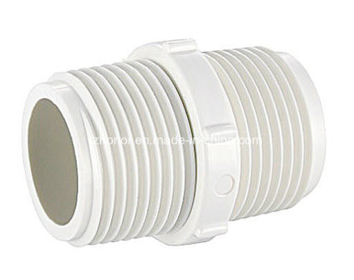 PVC Male Coupling Nipple BS Thread Water Supply Pressure Pipe Fitting BSPT (B08) pictures & photos