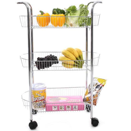 Household Essentials Metal Wire 3 Tier Storage Cart (JP SC985C)