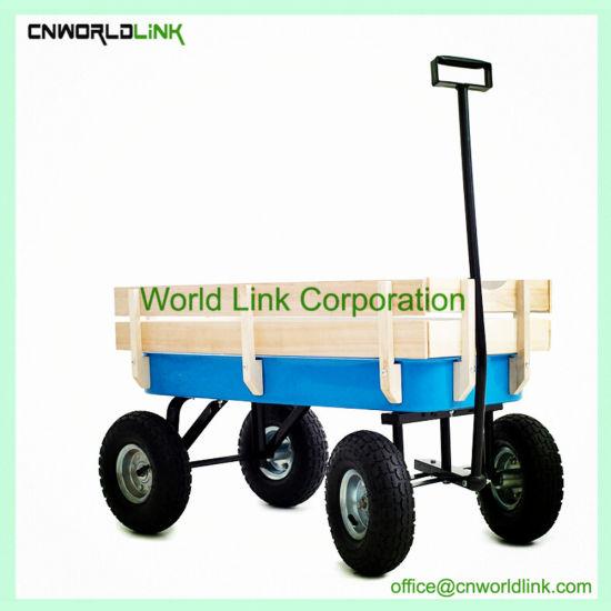 Beach Wagon Trolley Wooden Kids Cart Garden Equipment Carry Wagon